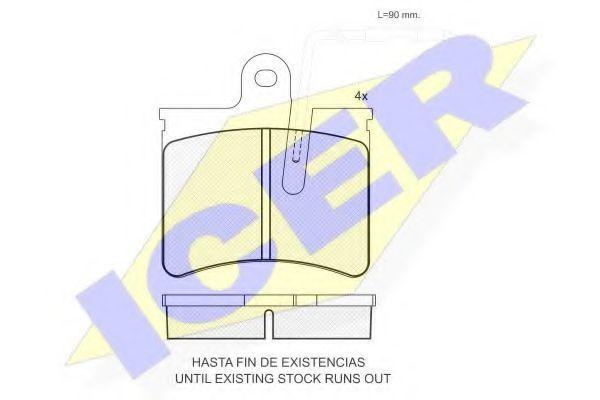 Комплект тормозных колодок, дисковый тормоз ICER 180358
