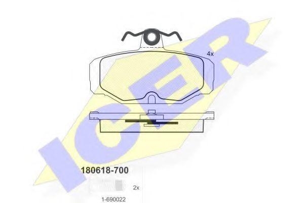 Колодки тормозные ICER 180618700