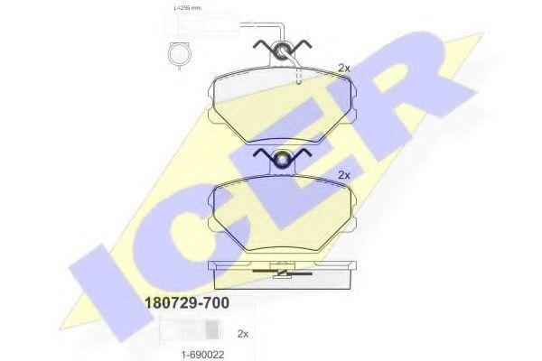 Колодки тормозные ICER 180729700