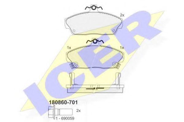 Колодки тормозные ICER 180860-701