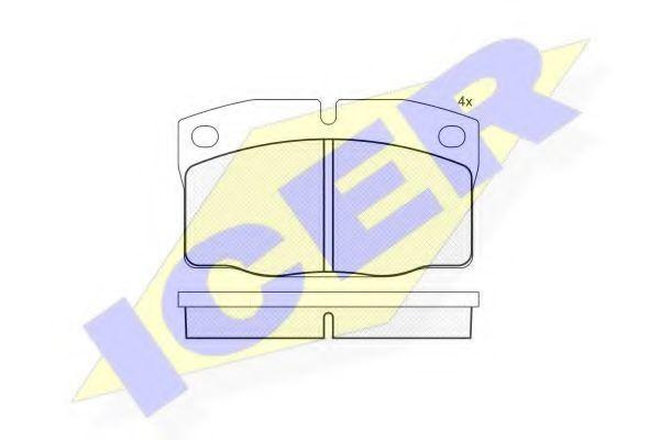 Комплект тормозных колодок, дисковый тормоз ICER 181092