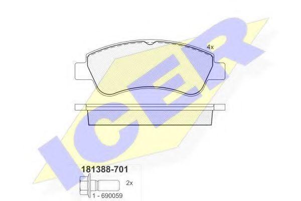 Колодки тормозные ICER 181388-701