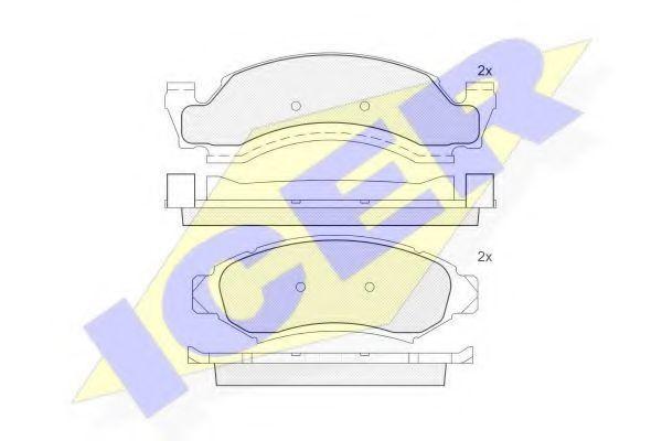 Комплект тормозных колодок, дисковый тормоз ICER 181400