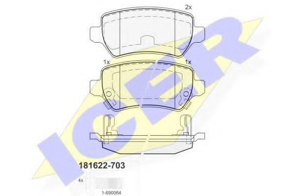 Колодки тормозные ICER 181622703
