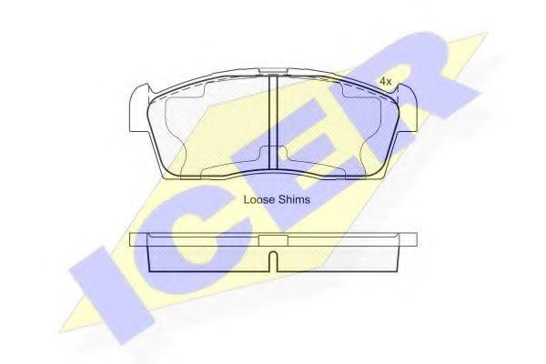 Комплект тормозных колодок, дисковый тормоз ICER 181833