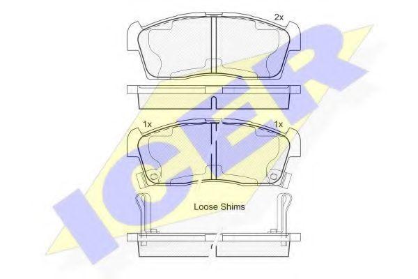 Комплект тормозных колодок, дисковый тормоз ICER 181833203