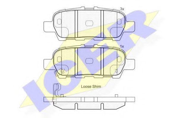 Комплект тормозных колодок, дисковый тормоз ICER 181901