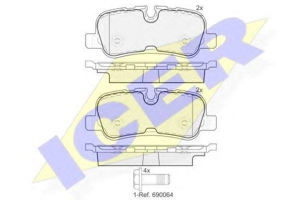 Комплект тормозных колодок, дисковый тормоз ICER 181946