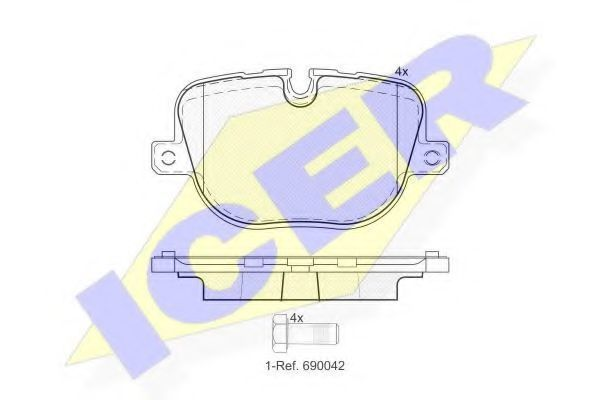Комплект тормозных колодок, дисковый тормоз ICER 181952