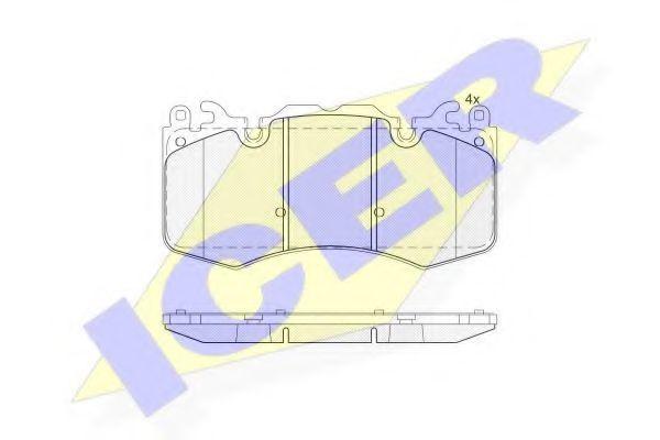 Комплект тормозных колодок, дисковый тормоз ICER 181956