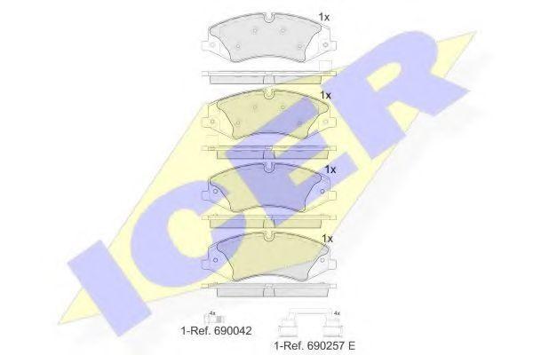 Комплект тормозных колодок, дисковый тормоз ICER 181957203