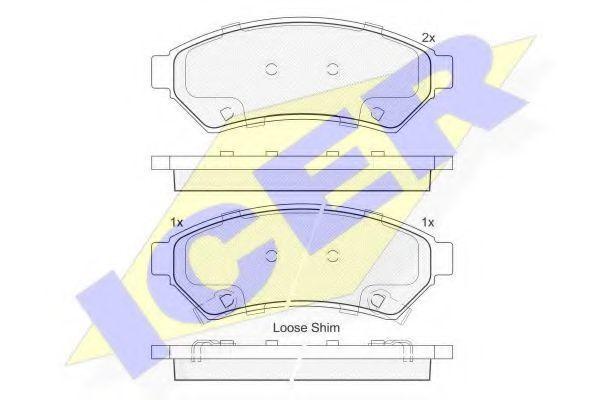 Комплект тормозных колодок, дисковый тормоз ICER 182081