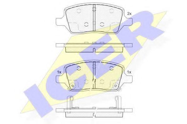 Комплект тормозных колодок, дисковый тормоз ICER 182083