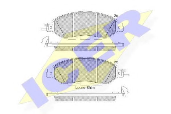 Комплект тормозных колодок, дисковый тормоз ICER 182234