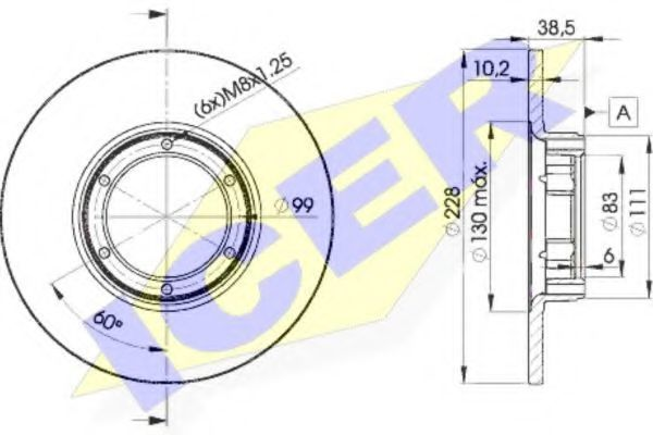 Тормозной диск ICER 78BD25002
