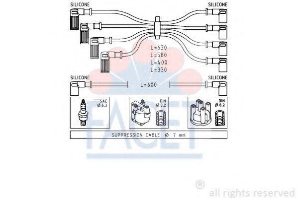 Комплект проводов зажигания FACET 49002