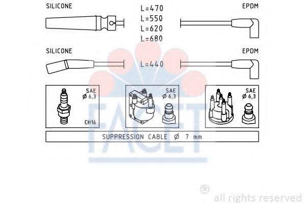 Комплект проводов зажигания FACET 49433