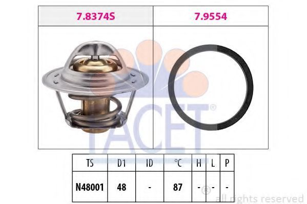 Термостат, охлаждающая жидкость FACET 78374