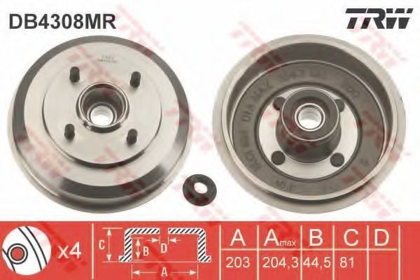 Барабан тормозной TRW DB4308MR