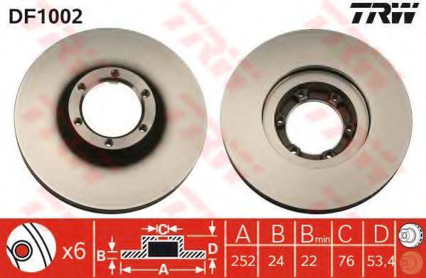Диск тормозной передний вентилируемый TRW DF1002