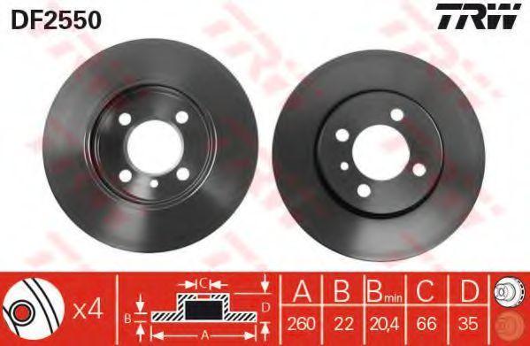 Диск тормозной передний вентилируемый TRW DF2550