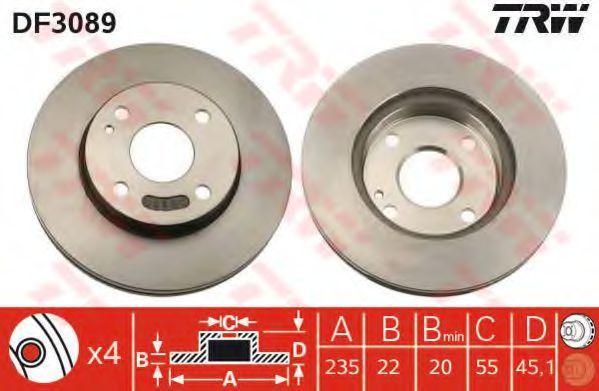 Диск тормозной передний вентилируемый TRW DF3089