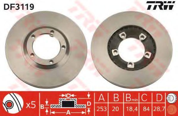 Диск тормозной передний вентилируемый TRW DF 3119