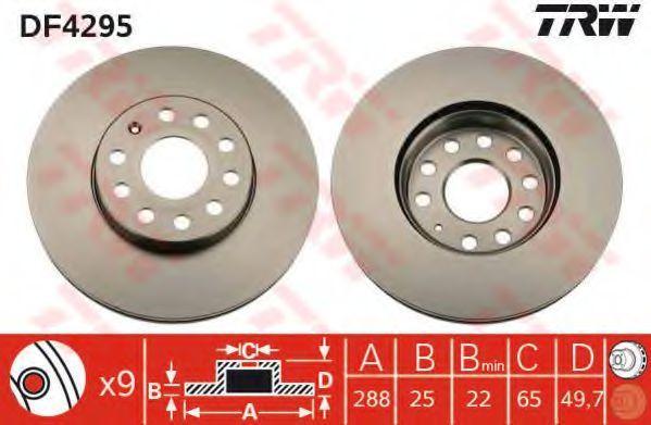 Изображение Диск тормозной TRW DF4295: продажа