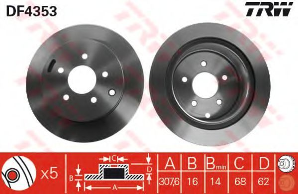Диск тормозной задний вентилируемый TRW DF4353