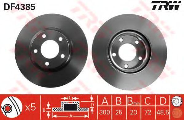 Диск тормозной передний вентилируемый TRW DF 4385