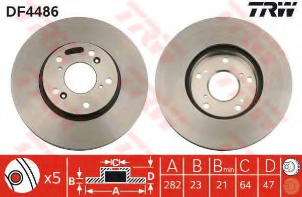 Диск тормозной передний вентилируемый TRW DF4486