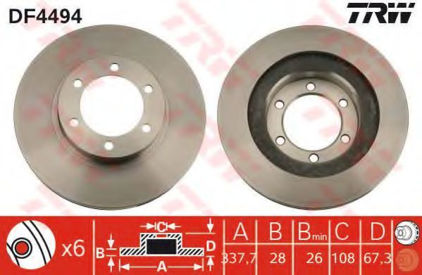 Диск тормозной передний вентилируемый TRW DF4494