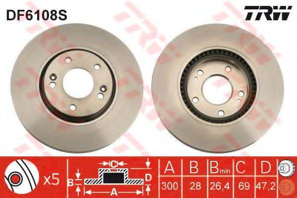 Изображение Диск тормозной TRW DF6108S: описание