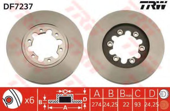 Тормозной диск TRW DF7237