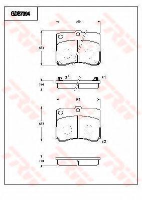 Комплект тормозных колодок, дисковый тормоз TRW GDB7094