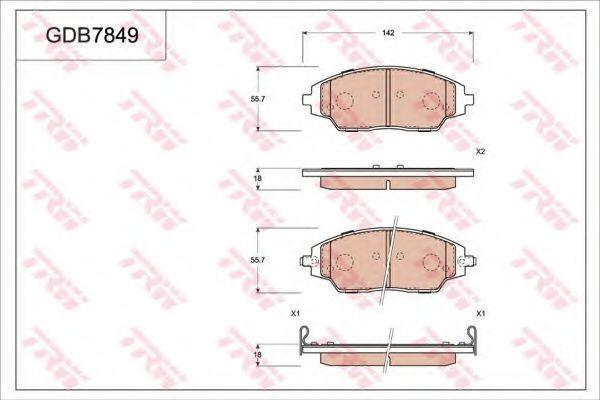 Комплект тормозных колодок, дисковый тормоз TRW GDB7849