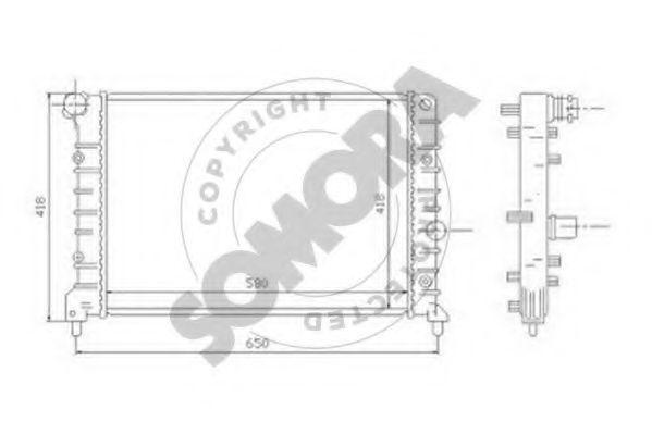 Радиатор, охлаждение двигателя SOMORA 010140A