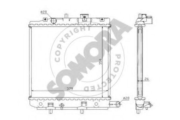 Радиатор, охлаждение двигателя SOMORA 167040