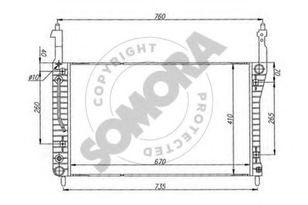 Радиатор, охлаждение двигателя SOMORA 067040
