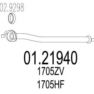 Купить Труба выхлопная промежуточная MTS 0121940