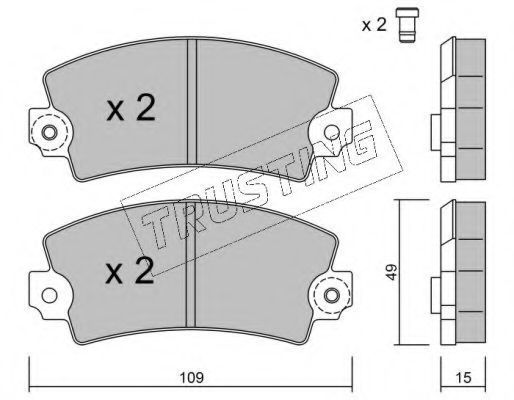 Комплект тормозных колодок, дисковый тормоз TRUSTING 0050