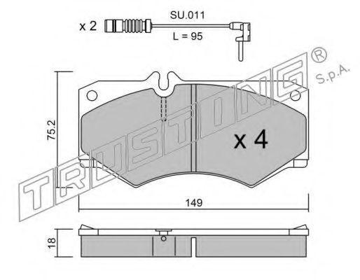 Комплект тормозных колодок, дисковый тормоз TRUSTING 0160W
