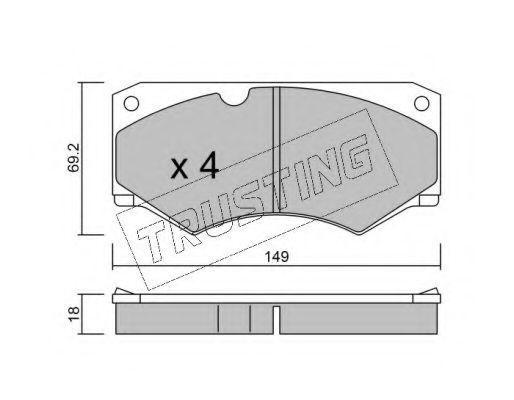 Комплект тормозных колодок, дисковый тормоз TRUSTING 0164