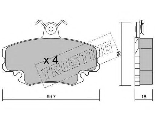 Комплект тормозных колодок, дисковый тормоз TRUSTING 1220