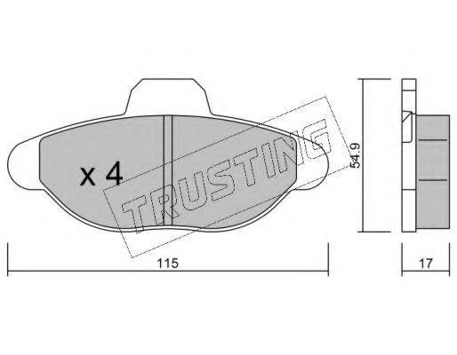 Комплект тормозных колодок, дисковый тормоз TRUSTING 1390