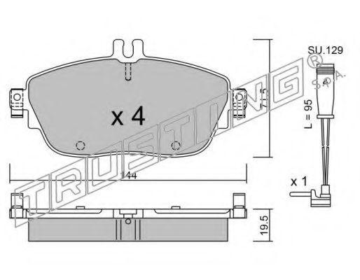 Комплект тормозных колодок, дисковый тормоз TRUSTING 9810W