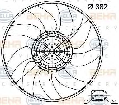 Вентилятор, охлаждение двигателя HELLA 8EW351000471