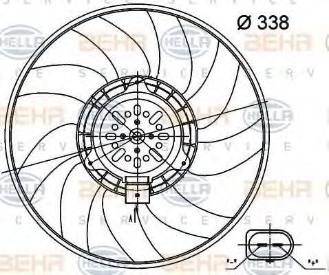 Вентилятор, охлаждение двигателя HELLA 8EW351000481