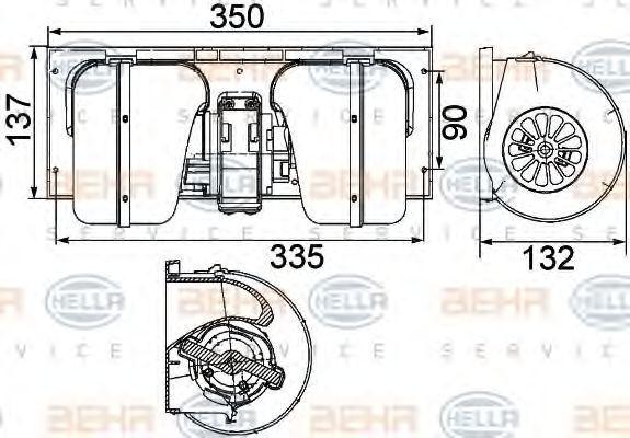Мотор вентилятора печки HELLA 8EW351024491