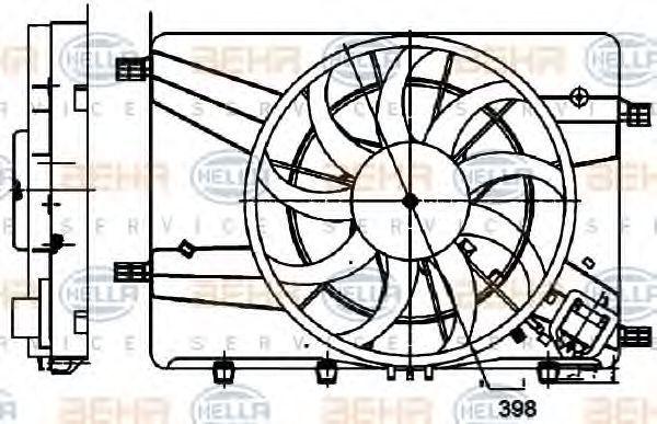 Вентилятор, охлаждение двигателя HELLA 8EW351024521